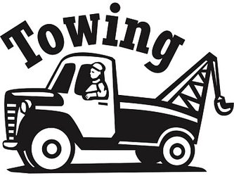 A cartoon tow truck with the word